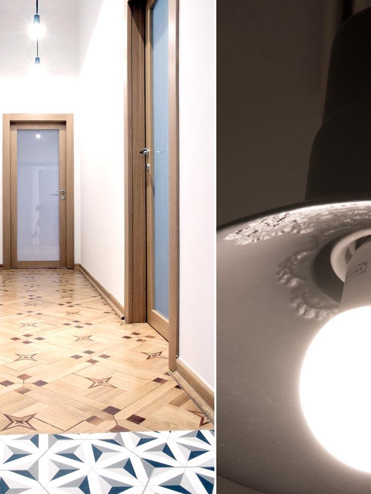 Ceramics lamp with laces – black matt