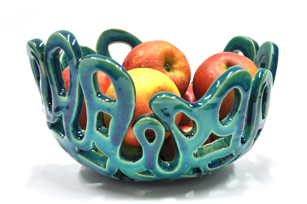Coral bowl turquoise crackle